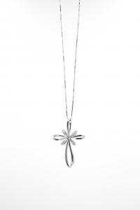 Croce Stilizzata in Oro Bianco con Diamanti