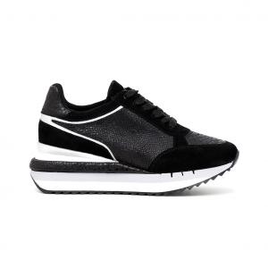 Sneaker platform nera con zeppa CAFéNOIR