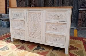 Buffet 6 cassetti 1 anta in legno di palissandro indiano intagliato
