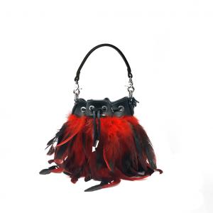 Secchiello con piume nero/rosso PashBag