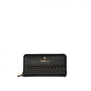 Portafoglio nero con borchiette PashBag