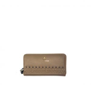 Portafoglio taupe con borchiette PashBag