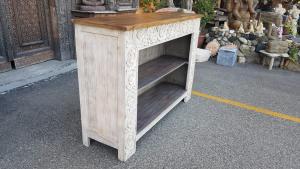 Libreria 2 ripiani cornice decorata in legno di palissandro