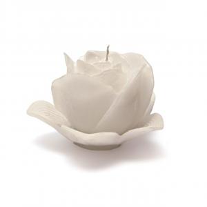 Candela profumata rosa bianca perlata con piattino cm.10,5h diam.15