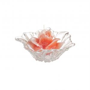 Candela rosa corallo profumata con piattino in vetro cm.12,5h diam.14