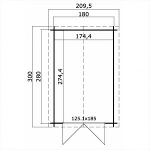 CASETTA LEGNO CM  200 X 300 SPESSORE MM 28  CON PAVIMENTO