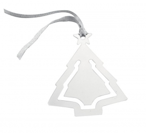 Albero Natale in silver plated cm.9x7,5x0,2h