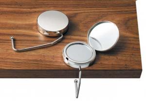 Portaborsa specchio gambo rigido cromato cm.11x5,5x1,5h diam.5