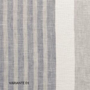 Copripiumino Matrimoniale 255x205 cm con 2 Fodere per Cuscini Letto 50x80, Duvet con Rivestimento a Righe, Parure 100% Puro Lino Naturale | TRIBECA