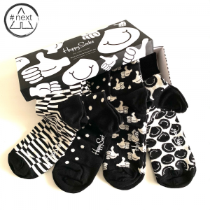Happy Socks - Black and White - Gift Box 4-Pack