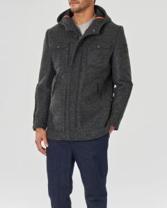 Giaccone grigio in lana cotta con cappuccio e doppia chiusura zip e bottoni