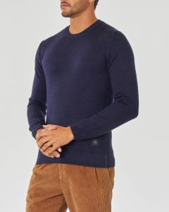 Maglia blu girocollo in pura lana merinos finezza 7