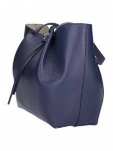 Borsa shopping media in pelle colore dress blu - PATRIZIA PEPE