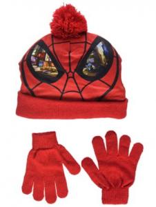 Cappello con guantini Spiderman Misura unica veste da 3 a 6 anni