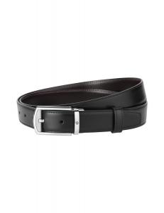 Cintura Montblanc reversibile black/brown con fibbia in finitura palladio lucida e opaca