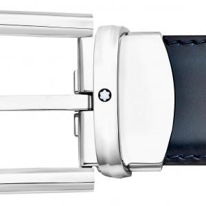 Cintura Montblanc con fibbia ad ardiglione rivestita in palladio lucido a ferro di cavallo