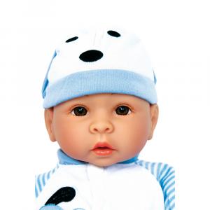Bambola Benno con ciuccio e tutina azzurra
