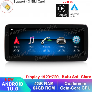 ANDROID navigatore per Mercedes Classe B W246 2016-2018 NTG 5.0 10.25 pollici 4GB RAM 64GB ROM Octa-Core Car Play Android Auto Bluetooth GPS WI-FI