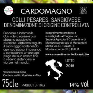 Cardomagno - DOC Sangiovese Colli Pesaresi Riserva 2015 - Vino Rosso - 75cl