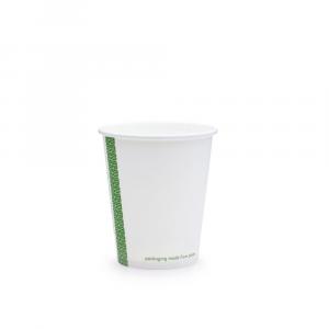 Bicchieri biodegradabili cartoncino 180ml SLIM bianchi serie green stripe D72