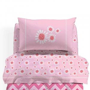 Set lenzuola Bambina Margherite rosa Caleffi per letto singolo