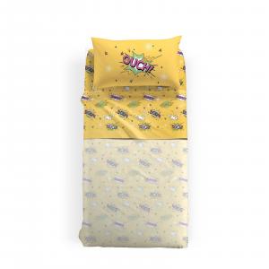 Set lenzuola POP di Caleffi per letto singolo Colore giallo OUCH