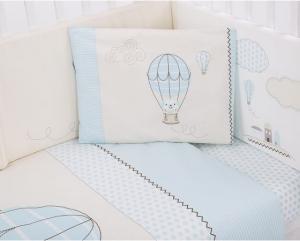 Kikka Boo - set di biancheria da letto per bambini realizzato in cotone ranforce di prima qualità al 100%; 6 Pz misura 60/120 - Puppy on Balloon