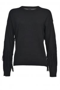 Pullover in maglia di misto lana e cachemire con frange Pinko.