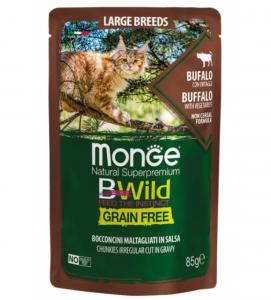 Monge Cat - BWild Grain Free - Large Breeds - Bufalo con Ortaggi - 85g x 7 buste