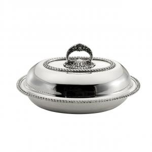 Legumiera ovale in metallo placcato argento con coperchio stile Regina Anna