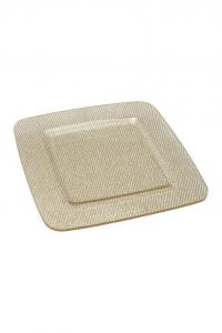 Piatto Quadrato in Plexiglass texture a rete Oro cm.31,5x31,5x1h