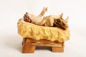 Gesù Bambino con culla Dolfi Legno cm 10