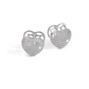 BROCCHI, orecchini a cuore argento e zirconi a pavè