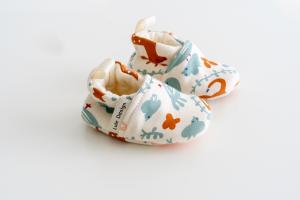 Scarpine neonato fantasia cerbiatto ruggine in cotone biologico