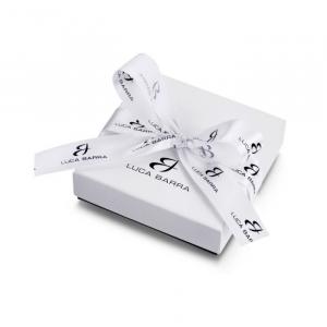 Luca Barra - Collana in acciaio con farfalle e cristalli bianchi