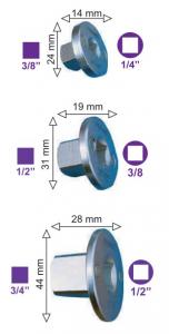 Set 3 raccordi di riduzione magnetici a scomparsa Fermec 1434