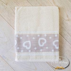 Coppia asciugamani Cuoricini e pois panna