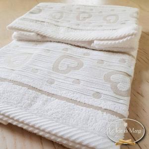 Coppia asciugamani Cuoricini e pois Bianco