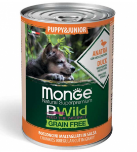 Monge - Bwild Grain Free - Puppy&Junior - Anatra - 400gr x 6 lattine