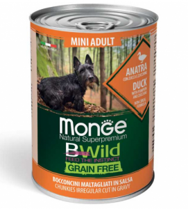 Monge - Bwild Grain Free - Mini Adult - Anatra - 400gr x 6 lattine