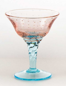 Coppa vetro soffiato rosa acquamare g.tors (6pz)