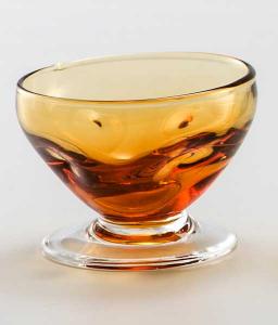 Glass blown Ice cream cup Yellow Transparent (6pcs)