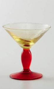 handgefertigtes Eisglas Gelb Rot (6stck)