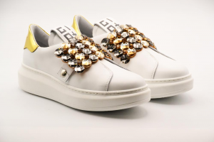 Gio+ Calzatura Donna Sneakers Vitello Bianco/Specchio G908B