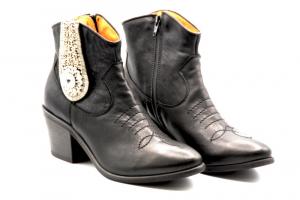 Gio+ Calzatura Donna Tonchetto/Texano Pelle Nera M102