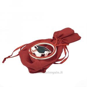 Portaconfetti palla Rosso con ciondolo 10x12 cm - Sacchetti laurea