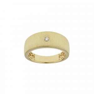 Anello Oro 18kt  Spazzolato con Diamante