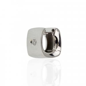Orecchini Oro 18kt  Spazzolato Prestige con Diamanti - View2