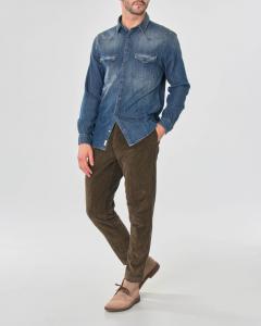 Camicia in denim stone washed modello western