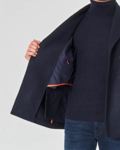 Caban blu doppiopetto in tessuto diagonale di lana